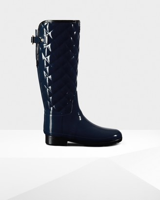 Hunter Women's Refined Adjustable Quilted Gloss Rain Boots