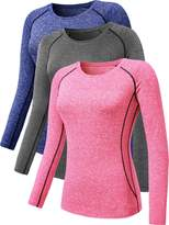 Neleus Women's 3 Pack Compression Long Sleeve Top for Girls,8021,Grey,Blue,Pink,XL