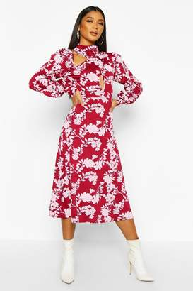 boohoo Floral Print Blouson Sleeve Midi Skater Dress