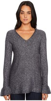 Michael Stars Soft V-Neck Pullover with Ruffle Sleeve Women's Clothing