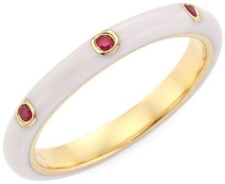 Ef Collection 14K Yellow Gold, Enamel & Ruby Ring