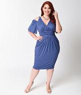Kiyonna Plus Size Vintage Blue Tantalizing Twist Sheath Dress