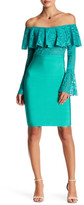 Wow Couture Off-the-Shoulder Bell Sleeve Pattern Detail Dress