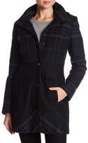GUESS Plaid Hooded Wool Blend Coat