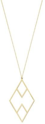 "Curata 14k Yellow Gold Draw The Line Haze Geometric Necklace, 18"""