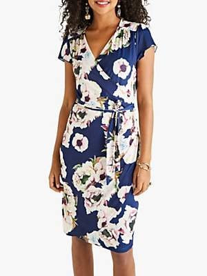 Yumi Abstract Floral Wrap Dress, Navy