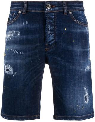 John Richmond Distressed Mid-Rise Denim Shorts
