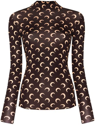 Marine Serre Crescent Moon print turtleneck top
