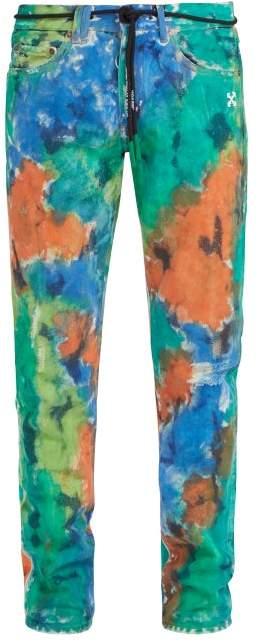 Off-White Off White Painted Slim Leg Jeans - Mens - Multi