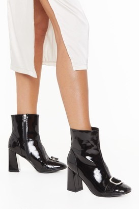 Nasty Gal Womens When the Sun Don't Shine Buckle Block Heel Boots - Black