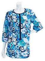Liz Claiborne New York 3/4 Sleeve Floral Printed Tunic