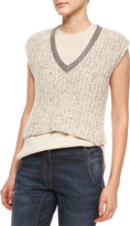 Brunello Cucinelli Embellished-Neck Sweater Crop Top, Wheat