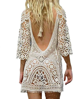 DNFC Beach Cover Up Women Cotton Lace Beachwear Cover Dress Top Ladies Bathing Suit Short Beach Crochet Backless Summer Bikini Swimsuit Cover Up for Pool Swimming Holiday (White One Size)