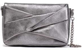 Halston Pleated Metallic Textured-leather Shoulder Bag