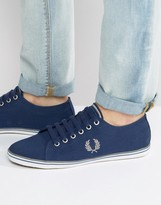 Fred Perry Underspin Canvas Trainers In Navy