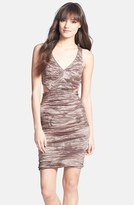 Nicole Miller Women's Cutout Detail Crinkle Techno Metal Sheath Dress
