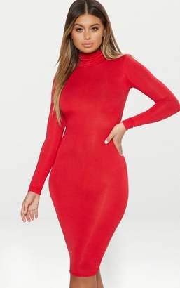 PrettyLittleThing Basic Red Roll Neck Midi Dress