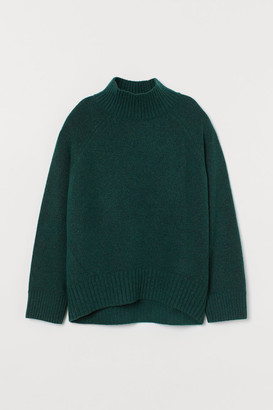 H&M Knit Mock-turtleneck Sweater - Green
