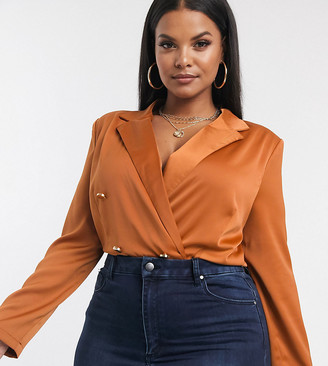 Paper Dolls Plus tailored blouse bodysuit with gold button detail in terracotta-Brown