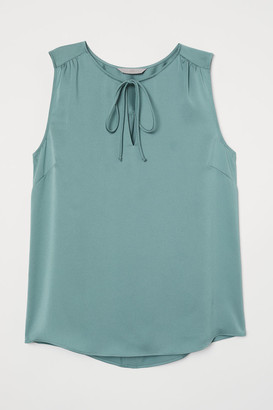 H&M Tie-front Satin Blouse - Turquoise