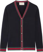 Gucci Metallic-trimmed Merino Wool Cardigan - Navy