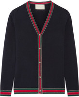 Gucci Metallic-trimmed Merino Wool Cardigan