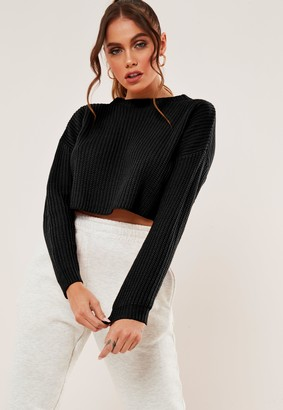 Missguided Petite Black Basic Super Cropped Knitted Jumper