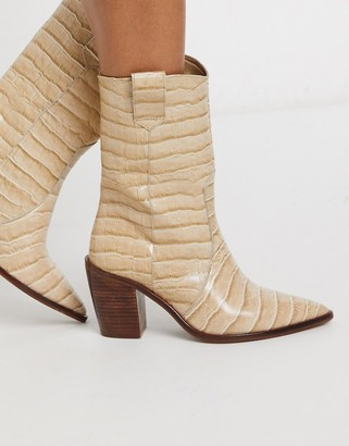 CHIO western boots in natural croc embossed leather