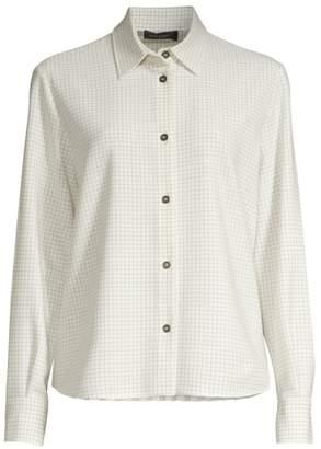 Piazza Sempione Grid Check Plisse Back Collared Shirt