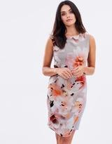 Wallis Apricot Floral Asym Dress