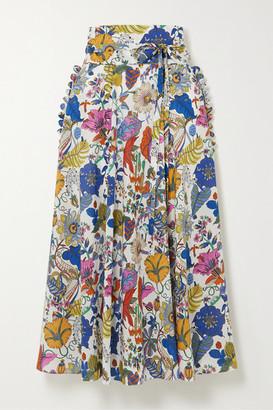 Horror Vacui James Scalloped Floral-print Cotton Midi Skirt - Blue