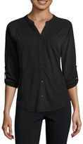 Almost Famous 3/4-Sleeve Lace-Back Button-Front Shirt - Juniors