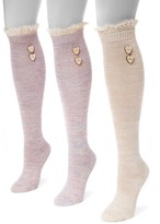 Muk Luks Lace Trim Knee High Socks - Pack of 3