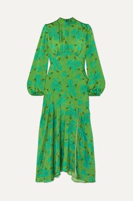 De La Vali Clara Floral-print Satin Midi Dress - Green