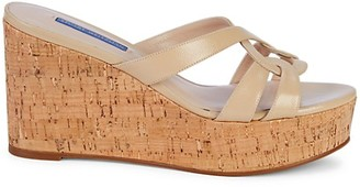 Stuart Weitzman Cadence Cork Leather Platform Wedge Sandals