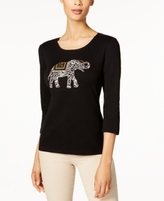 Karen Scott Petite Cotton Elephant Graphic Top, Created for Macy's