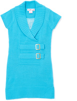 Pink Angel Go Blue Double-Buckle Sweater Dress - Infant Toddler & Girls