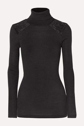 Hanro Rubina Lace-trimmed Ribbed Wool And Silk-blend Turtleneck Top - Charcoal