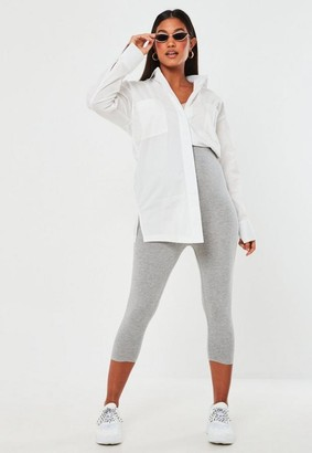 Missguided Gray Marl Waistband Crop Maternity Leggings