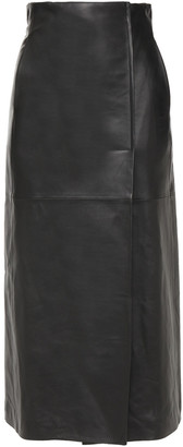 Lanvin Wrap-effect Leather Midi Skirt