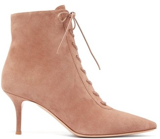 Gianvito Rossi Lace-up 70 Suede Ankle Boots - Womens - Nude