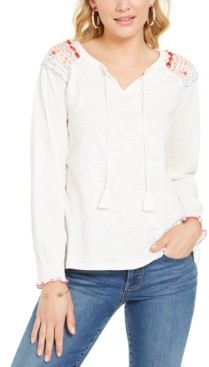 Style&Co. Style & Co Embroidered-Shoulder Top, Created for Macy's