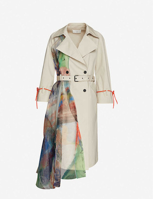 Quetsche Tulle panel cotton trench coat