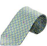 Ermenegildo Zegna Ermengildo Zegna Green & Blue Leaves Silk Tie