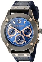 Vince Camuto Women's VC/5235BLNV Multi-Function Dial Navy Blue Croco-Grain Leather Strap Watch