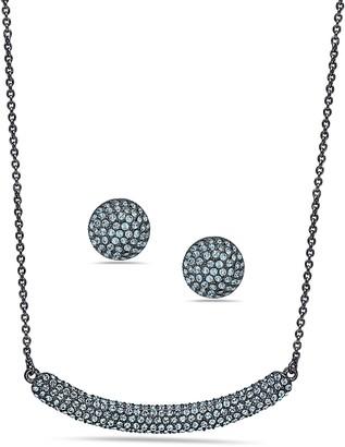 Nina Jewelry Swarovski Necklace & Pave Stud Earring Set
