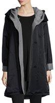 Eileen Fisher Reversible Hooded Rain Coat, Petite