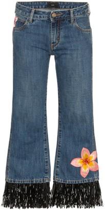 Alanui Hawaii flower-embroidered jeans