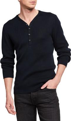 John Varvatos Men's Adrian Ribbed V-Neck Henley Shirt