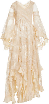 Zimmermann Charm Star Ruffled Silk Maxi Dress